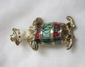 Vintage Rodeo clown in barrel w/ funny shoes pin brooch