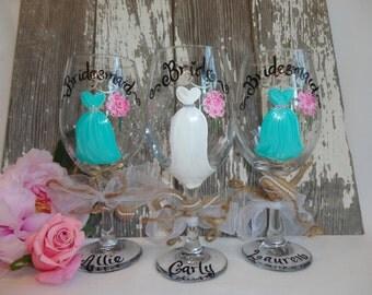 Rustic Wine Glasses, Hand Painted Bridesmaid Wine Glasses, PICK Your COLORS, Rustic Bridesmaid Wine Glasses, Rustic Wedding, Mason Jar