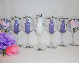 Hand Painted Bridesmaid Wine Glasses - Bridesmaid Glasses - EXACT DRESS REPLICA - Bridesmaid Tumblers, Bridesmaid Gifts, Maid of Honor Gift