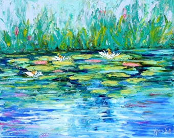 Original oil painting Water Lilly Pond abstract palette knife impressionism on canvas fine art by Karen Tarlton