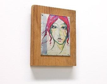 Hot Pink Flowing Hair Portrait on Salvage Metal & Wood