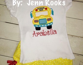 Back to School Girls School Bus Outfit: First Day of School- Preschool- 1st Grade- 2nd Grade- Monogram Outfit