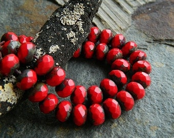 Red Picasso Czech glass rondelle beads, Fire polished faceted donut beads, 6X9mm glass rondelles, glass donut beads  (20pcs) NEW