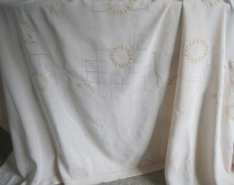 Beautiful French pure linen embroidered tablecloth with drawn thread panels. Thanksgiving, Christmas, wedding, banquet