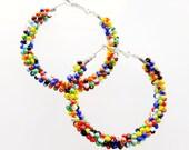 Rainbow Earrings - Seed Bead Earrings - LGBT jewelry - Colorful Earrings - Gypsy Hoop Earrings - Gifts for Teenage Girls - Lesbian Gift