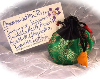 Communication Energy Power Pouch with 7 Natural Crystals and Stones FREE SHIPPING