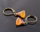 Carnelian Earrings, Orange Earrings, Carnelian Jewelry, Gemstone Earrings, Third Chakra Earrings, Wire Wrapped Earrings, Solitaire Earrings