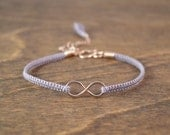Yoga Jewelry - Rose Gold Infinity Bracelet with Custom Silk Macrame Band