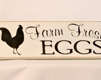 Farm Fresh Eggs - Primitive Country Painted Wall Sign, home decor, room decor, Rooster Sign, Farm Sign, Ready to Ship