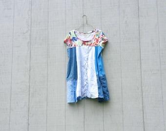 funky blue cotton tunic upcycled romantic Upcycled clothing Patchwork Eco Dress / Artsy Dress by CreoleSha