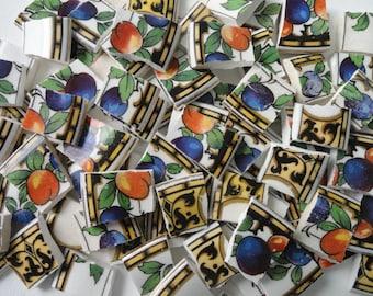 85 Fruit Pattern Vintage China Mosaic Tiles// Broken Dish Tiles// Mosaic Supplies//Crafts
