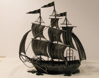 Vintage 1970s Sailing Ship - Black Distressed Metal Sculpture - Nautical Decor - 3 Masted Barque Vessel