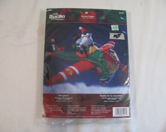 "Bucilla Christmas Decor Kit - Stuffed Santa and Frosty in Airplane - 14.5"" by 16"" by 8.25"" Size Finished - Like New - Unopened Package"