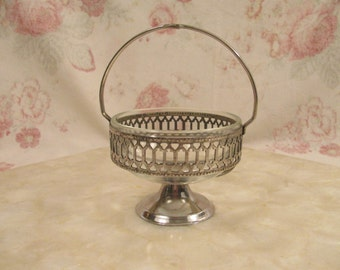 Vintage Silver Plate and Glass Sugar Bowl - Jam Pot - Buffet Server -