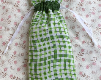 Green Wavy Stripe Bag Minders - Set of Two