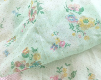 Vintage Mint Green Flocked Sheer Floral Fabric 1950's YARDAGE