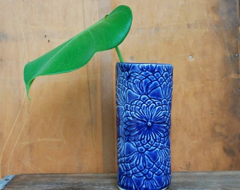 Blue Lace Vase - Planter - Ceramic, Pottery - Vintage Lace Pattern - Handcarved
