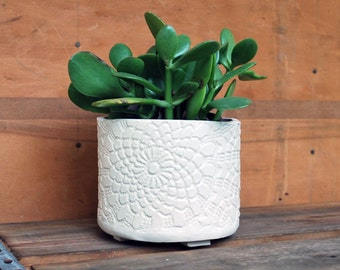 Planter - White Lace - Succulent Planter, Indoor Planter, Ceramic, Pottery - Lauren Sumner Pottery - Gifts for Plant Lovers