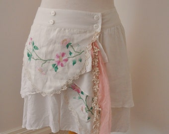 upcycled lightweight white viscose layered skirt altered couture embroided vintage lace  boho chic