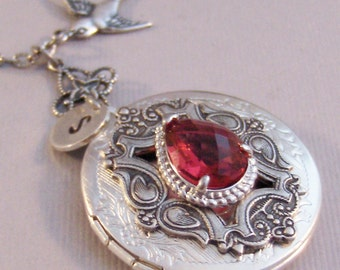 Ruby Sparrow,Locket,Ruby Necklace,Ruby Locket,Ruby Jewelry,Antique Ruby,Red Necklace,Photo Locket,Silver Locket,Red Stone,valleygirldesigns