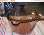 Valentines SALE Vintage Amber Vision Sauce Pan, 1 QT, Liter with Lid, Tempered Glass, USA