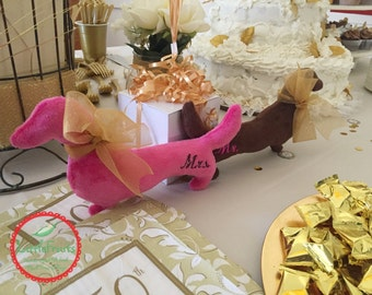 Mr. and Mrs. Wiener Dog Plushie - Wedding Gift for Him and Her - Doxie Lovers - Dachshund Plush Tox