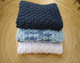 Set of Three Handmade Crocheted Washcloths or Dishcloths in Shades of Blue and White