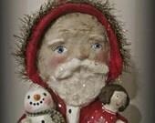 Santa Claus papier mache folk art hand made