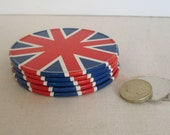 5 Vintage 1960s/70s Union Jack Coasters Metal Cork, Mod, British, UK