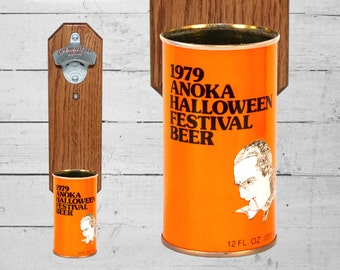 Wall Mounted Bottle Opener with Vintage 1979 Anoka Halloween Festival Beer Can Cap Catcher
