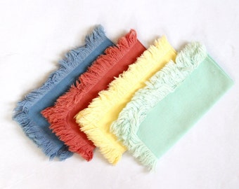 Vintage Napkins x4 Fringed Cotton