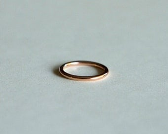 Set of 2, 14kt gold, solid gold, pink rose, yellow, or white, smooth finish, stacking, stacker, ring
