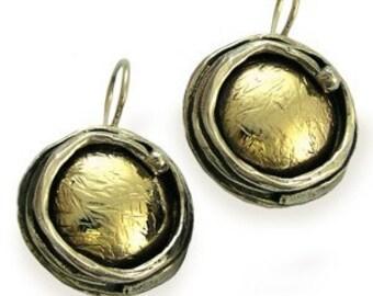 Silver Gold Earrings, hammered gold earrings, two-tone earrings, post earrings, drop earrings, dangle earrings - Walking in circles. E7897G
