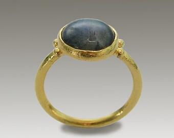 14k gold ring, yellow gold ring, labradorite ring, stone ring, gemstone ring, thin gold ring, blue stone ring, simple - Blue Ocean RG1769-2