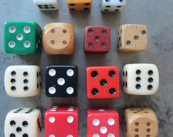 Vintage Dice Lot of 15 Variety of Colors & Materials