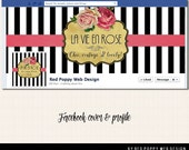 Facebook Cover Timeline Photo Design with Profile, Black White Stripe, Vintage Roses, Paris Chic Premade Facebook graphics, French Stripes