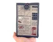 """London Kindle Paperwhite case, eReader 6""""holder, gray faux leather cover with pocket, newspaper pattern, English style"""