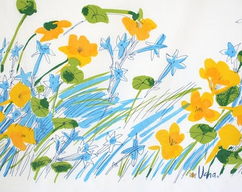 Vera Numann bedding. Flat sheets, fitted sheets, retro, floral sheets, nasturtiums, wildflowers, blue, green, yellow, watercolor, brushwork.