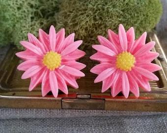Large Bridal Plugs, Prom Plugs, Flower Plugs, Pink, Sunflowers