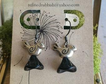 Dangle Earrings, Birds, Czech Glass Flowers, Black Flower, Bridal Jewelry