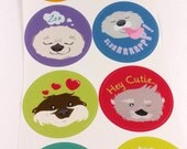 Otter Stickers- single sheet of 8 stickers