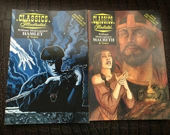 Set of Two William Shakespeare Classics Illustrated MacBeth and Hamlet