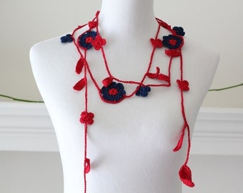 Crochet Red, Navy blue Lariat, Necklace, Scarf, Scarflette