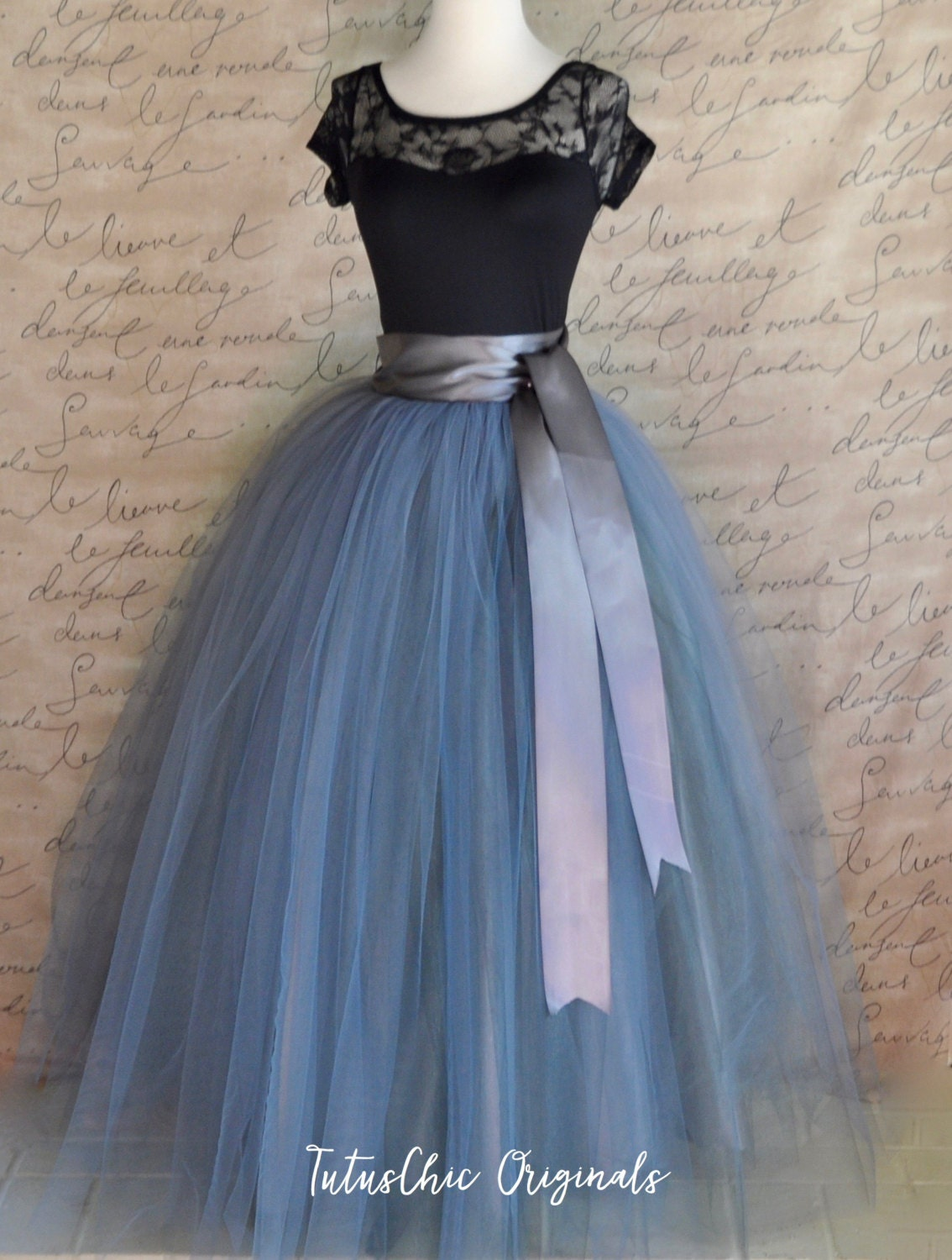 Tulle Full Length Maxi Skirt Charcoal Grey Tulle Lined In