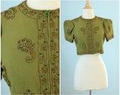 1930s cropped jacket / 40s gabardine zip up blouse /