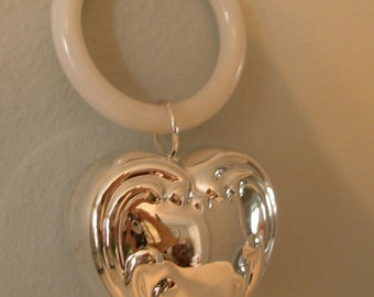 HEART of MY HEART Baby's Silver Plated Engrave-able Rattle