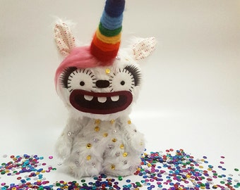 Rainbow the unicorn monster, plush monster doll