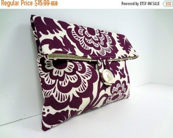ON SALE Eggplant Clutch Bridesmaid Gift Eggplant Wedding READY To Ship