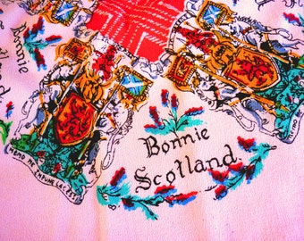 1940s Crepe Bonnie Scotland Scarf - Souvenir Scottish Pink Crepe Scarf - Pictorial Travel Scarf - Graphic Scarf w. Sporran and Tartans