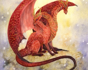 Dragon Art Watercolor Print - Smolder and Ember - fantasy art. two heads. whimsical. dark red. wings. gold.